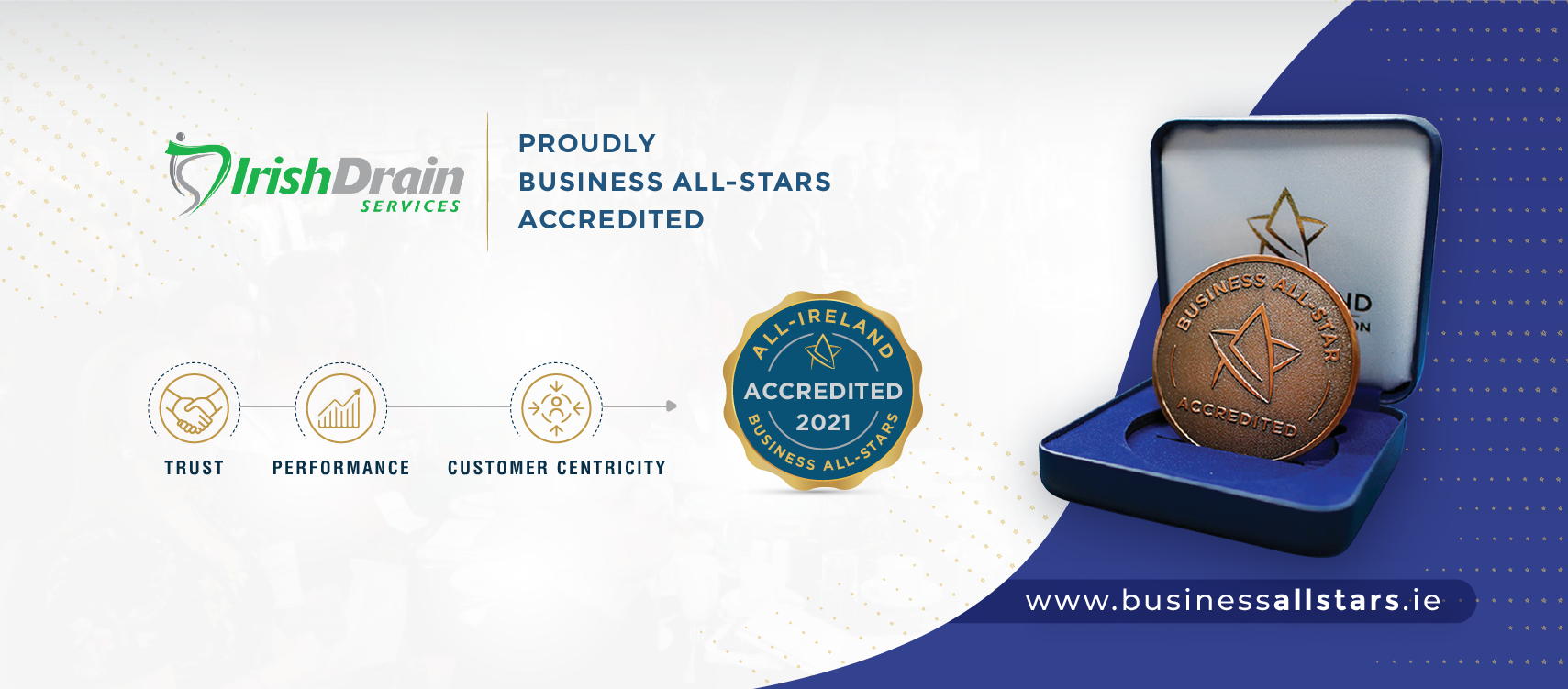Irish Drain Services have been awarded Business All-Star Accreditation and the award of All-Star Kerry Small Business of the Year 2021